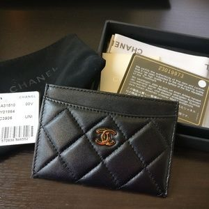Black Leather Quilted Card Case Wallet